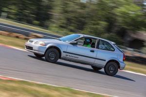 stock Honda hatch on track