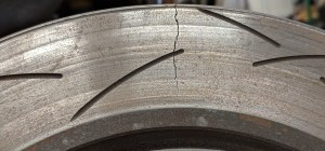 cracked slotted brake rotor