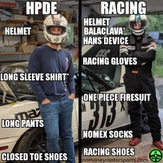 Racing and HPDE Safety gear infographic