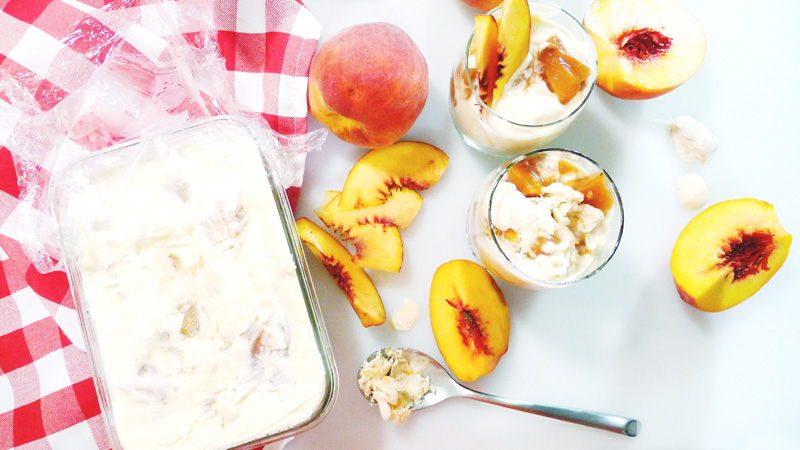 Homemade Summer Peach Ice Cream Recipe Instanomss Nomss Delicious Food Photography Healthy Travel Lifestyle Canada