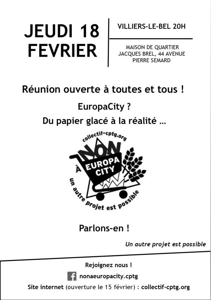 Flyer Réunion du 18 février à Villiers le Bel - Recto