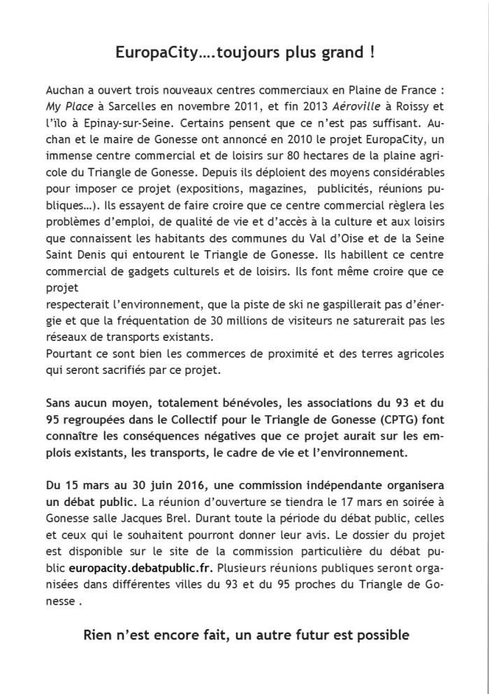 Flyer Réunion du 18 février à Villiers le Bel - Verso