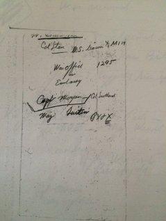 catatan tangan berisi penawaran pertukaran tawanan, PX2X adalah kode untuk John C Morgan