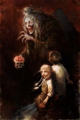 Ilustrasi si penyihir dalam kisah Hensel dan Gretel