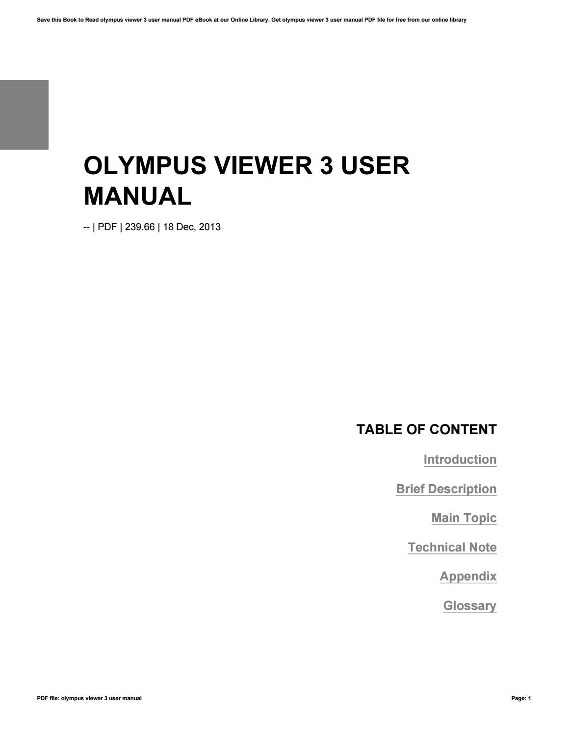 Olympus viewer 3 instruction manual