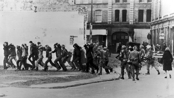 British paratroopers take away civil rights demonstrators on 'Bloody Sunday'
