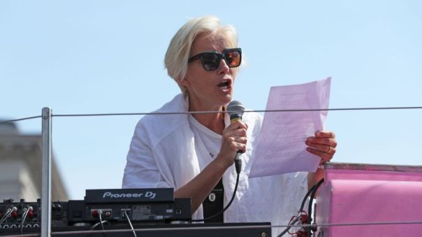 Dame Emma Thompson has been accused of hypocrisy after flying from the US to join the protests.