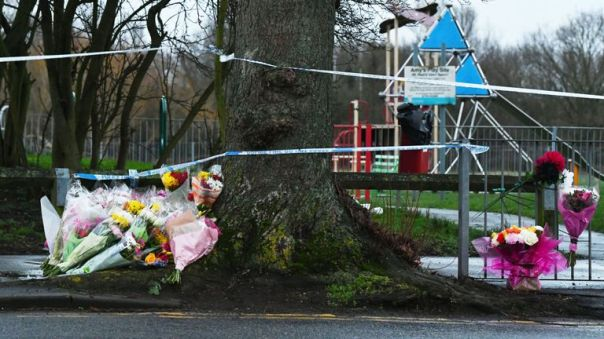 Tributes near the scene at St Neot's Road in Harold Hill, east London, following the fatal stabbing of 17-year-old Jodie Chesney