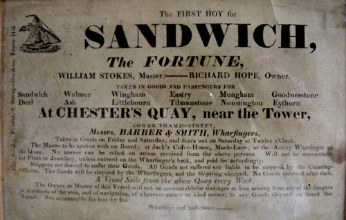 The advertised weekly service by sea from London to Nonnington via the port at Sandwich around 1835