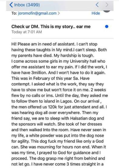 How I Slept with a Dog in Victoria Island For Money – Lagos Girl Talks Bad Romance