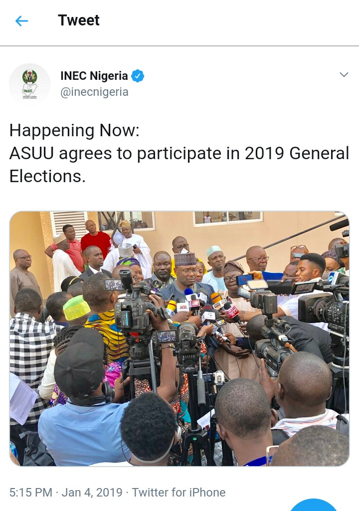 ASUU Finally Agrees To Partake In 2019 Elections Despite the strike
