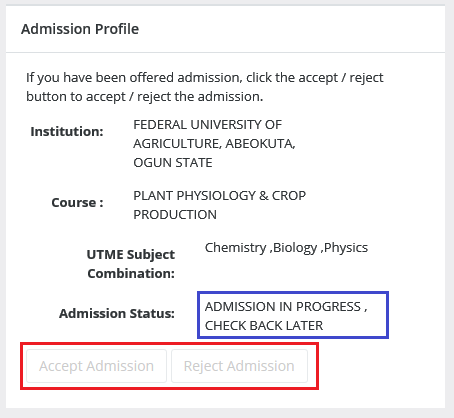 NOT been offered admission yet