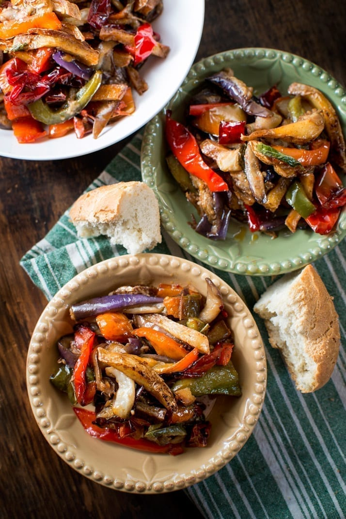 Italian pepper, potato, and eggplant dish makes a simple and delicious vegetarian recipe | nonnasway.com