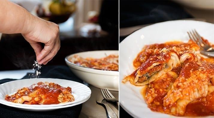 homemade cheese and meat ravioli