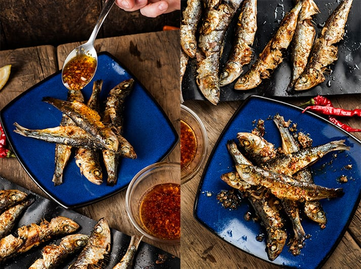 Grilled sardines with hot pepper dressing