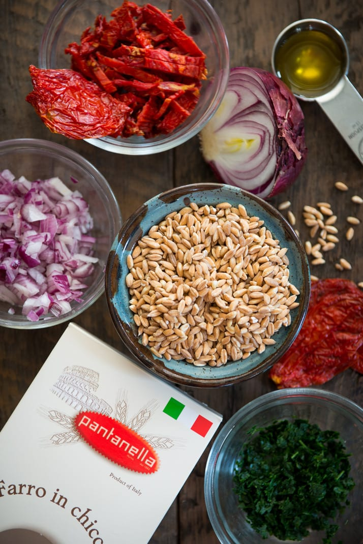 italian farro recipe with parsley, onion, and sundried tomatoes