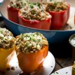 Lentil and Farro Stuffed Bell Peppers