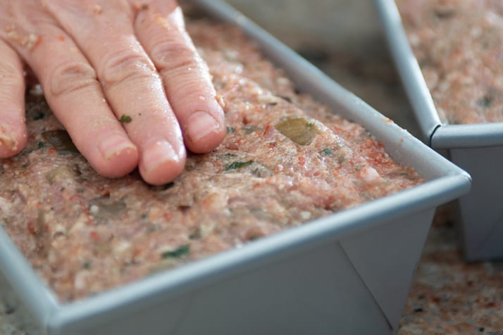 preparation of meatloaf in a cakeboss loaf pan