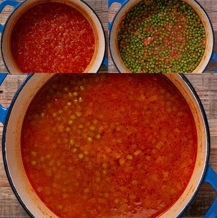 The three process steps of cooking the tomatoes and peas for pasta piselli