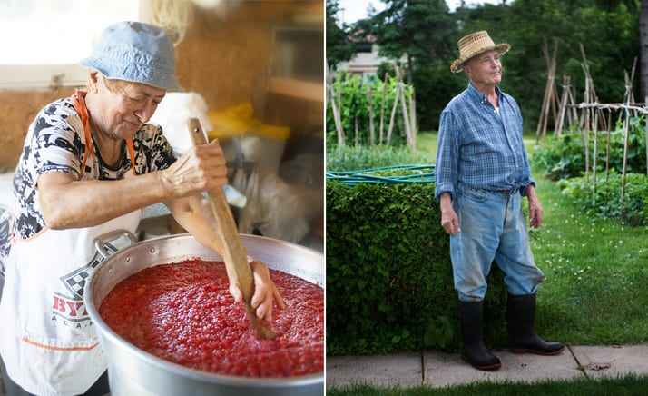 nonna making sauce and nonno in his garden