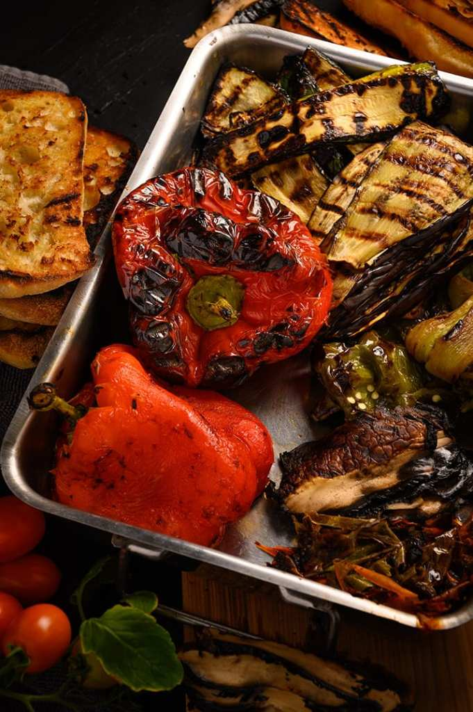 roasted peppers, grilled zucchini, eggplant, and mushrooms for panini