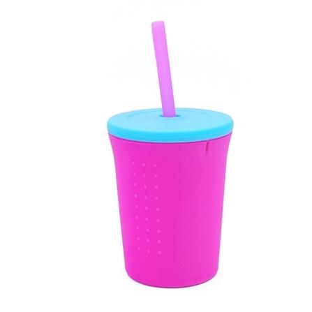 GoSili Kubek ze Słomką Pink Aqua 350ml