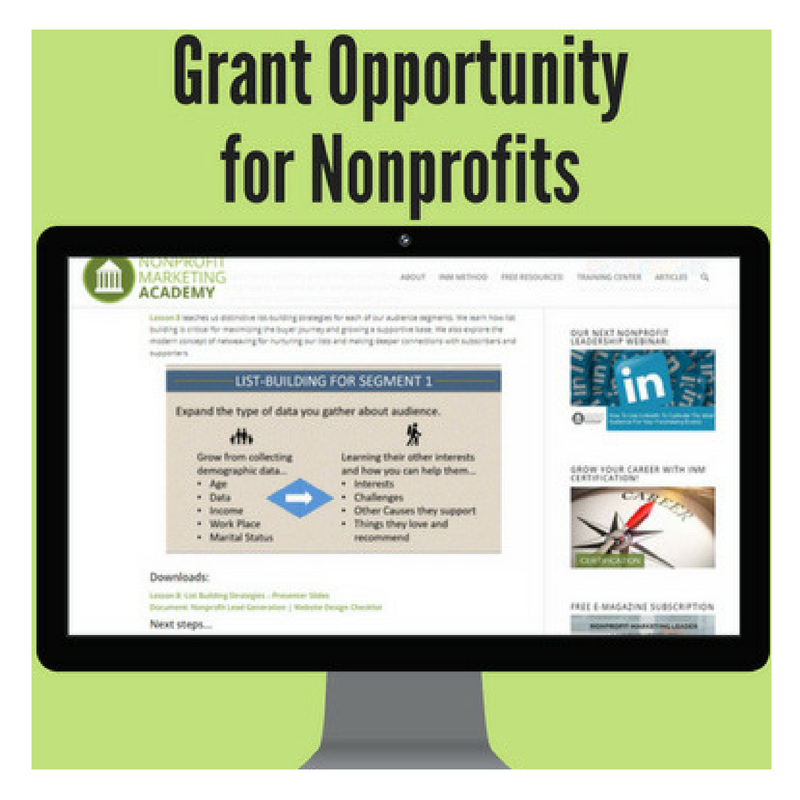 Nonprofit Training Grant Available: Learn More Here