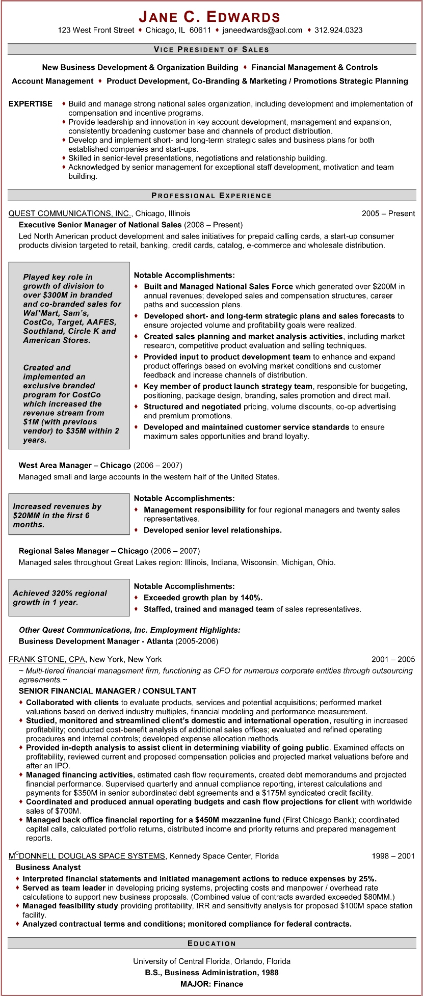 vice president of sales resume examples