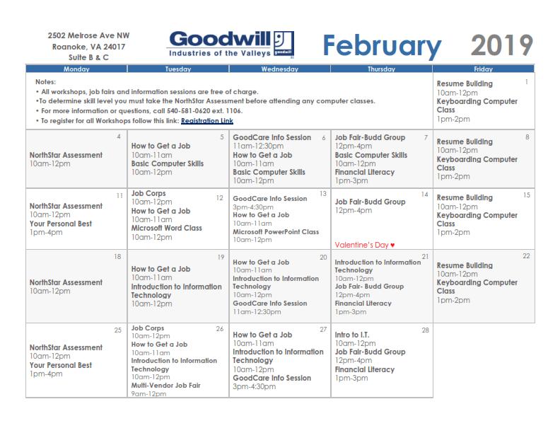 Goodwill February 2019 Training Calendar Nonprofit Roanoke