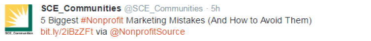 nonprofit marketing mistakes twitter share