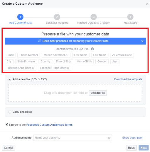 Facebook custom audience identifiers