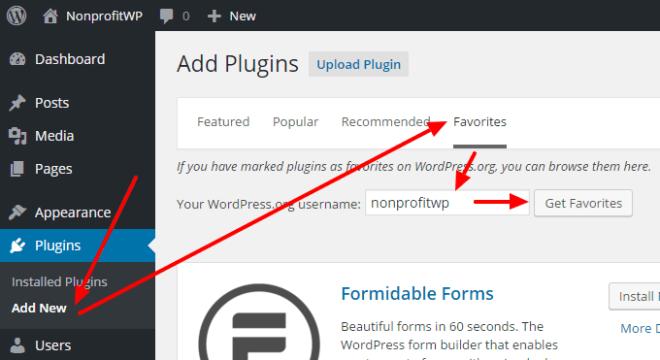 Diagram: Access NonprofitWP Favorite plugins in Dashboard