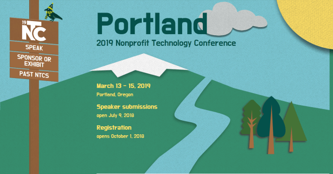 Home page of 2019 Nonprofit Technology Conference microsite