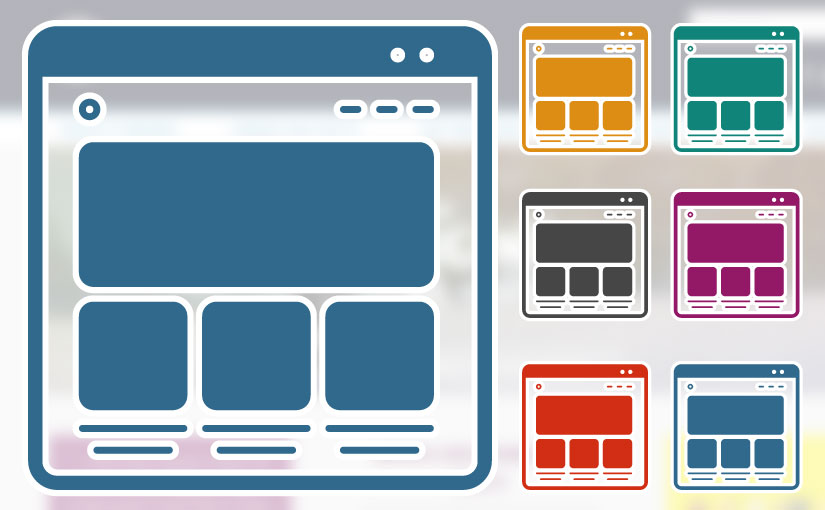 One large website icon and 6 small website icons