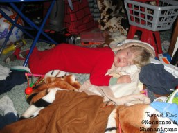 kid trashes room, falls asleep in mess