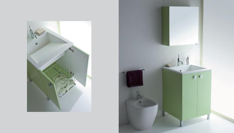Idea salvaspazio per la lavanderia armadietto sottolavandino con cestone portabiancheria
