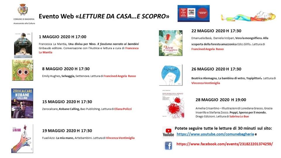 """Bagheria, evento web: """"Letture da casa…e scopro!"""""""