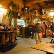 All'interno del Rifugio la Roda, sulla cima della Paganella.