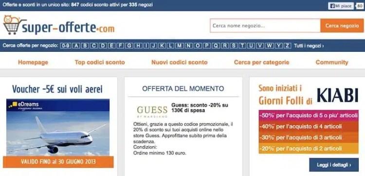 Il sito di codici sconto Super-Offerte.com