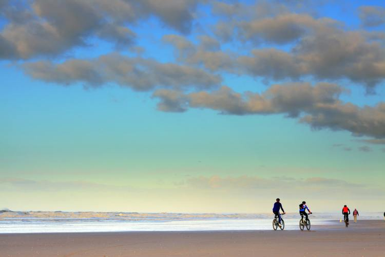 In bici lungo la costa del Watt, Germania