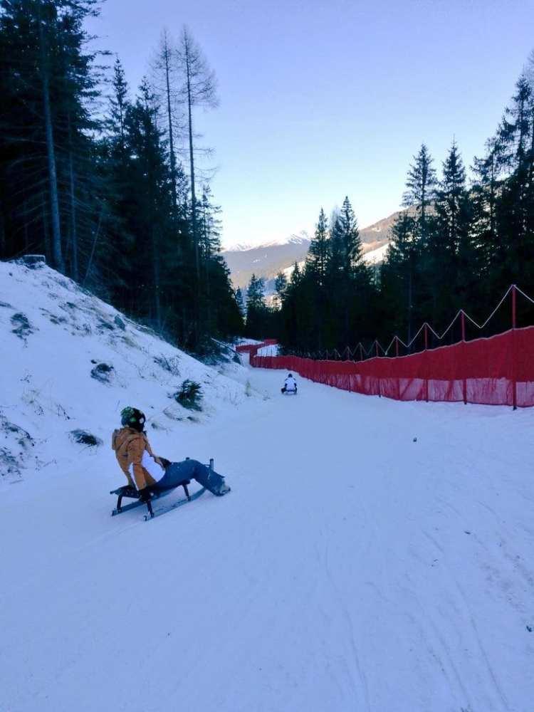 Slittino, Croda Rossa, Moso, pista Croda Rossa, San Candido, Tre Cime, Dolomiti, Alto Adige, Sud Tirolo