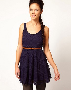 River Island Lace Skater Dress With Belt