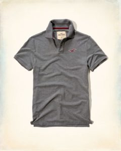 Hollister Solid Pique Polo - Grey