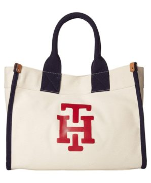 Cумка Tommy Hilfiger Canvas TH Print Medium Tote 36х27 см - Кремовая