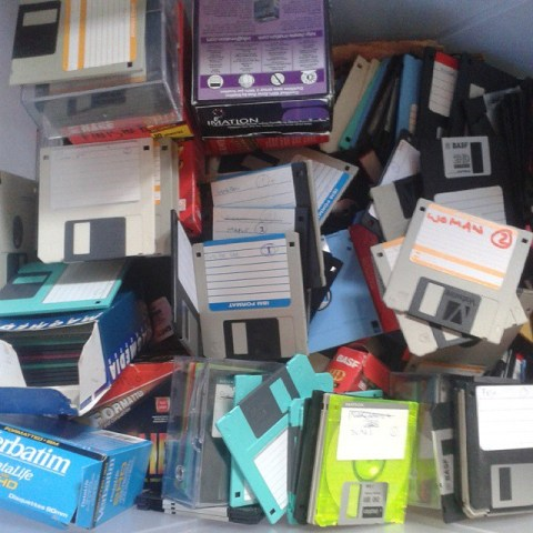 A box of floppies