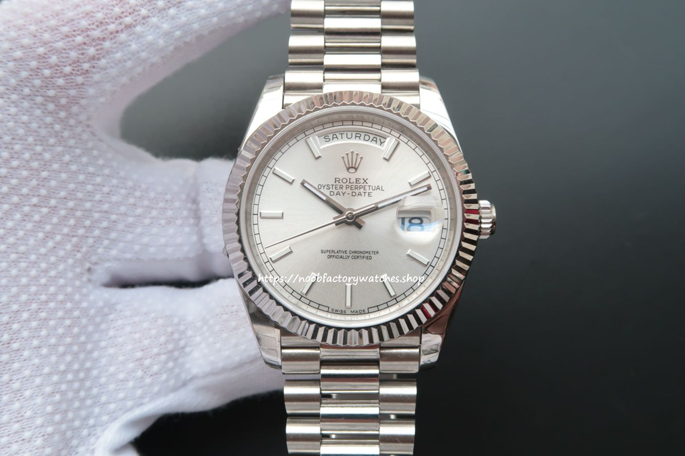 bcccf89626b Franken ROLEX Day-Date 40 228239 White Gold Watch (Silver Stripe ...