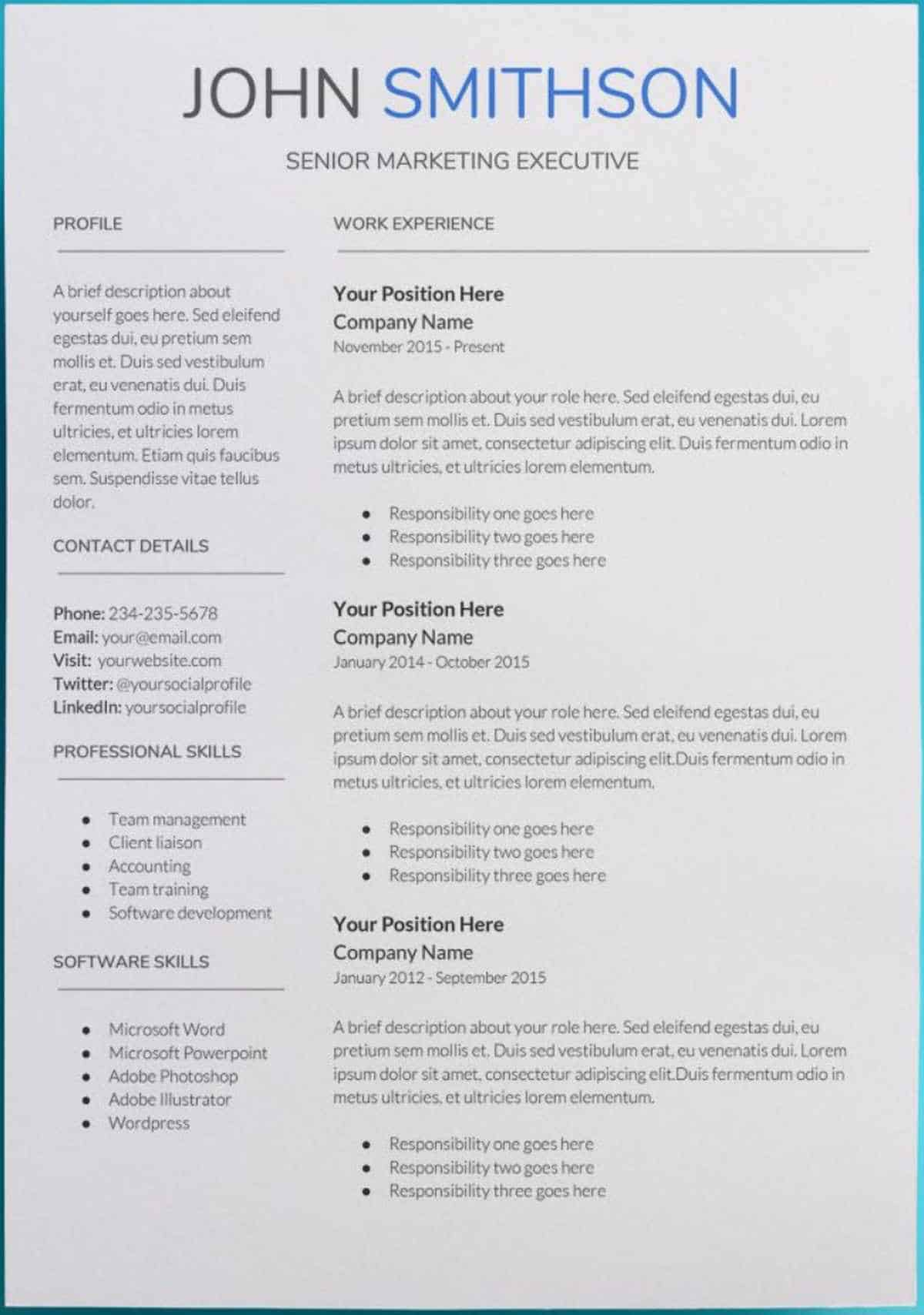 Template Of A Resume 30 Google Docs Resume Templates Downloadable Pdfs