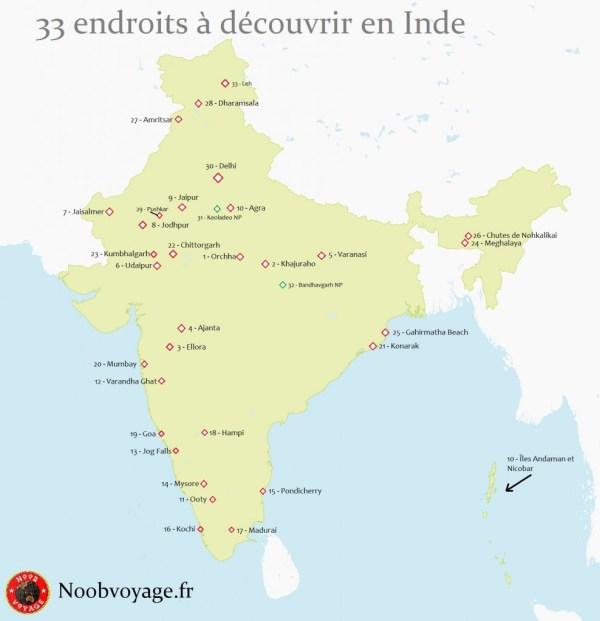 Carte de l'Inde détaillée