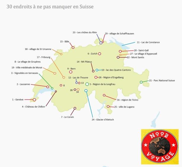 carte de la suisse touristique d taill e. Black Bedroom Furniture Sets. Home Design Ideas