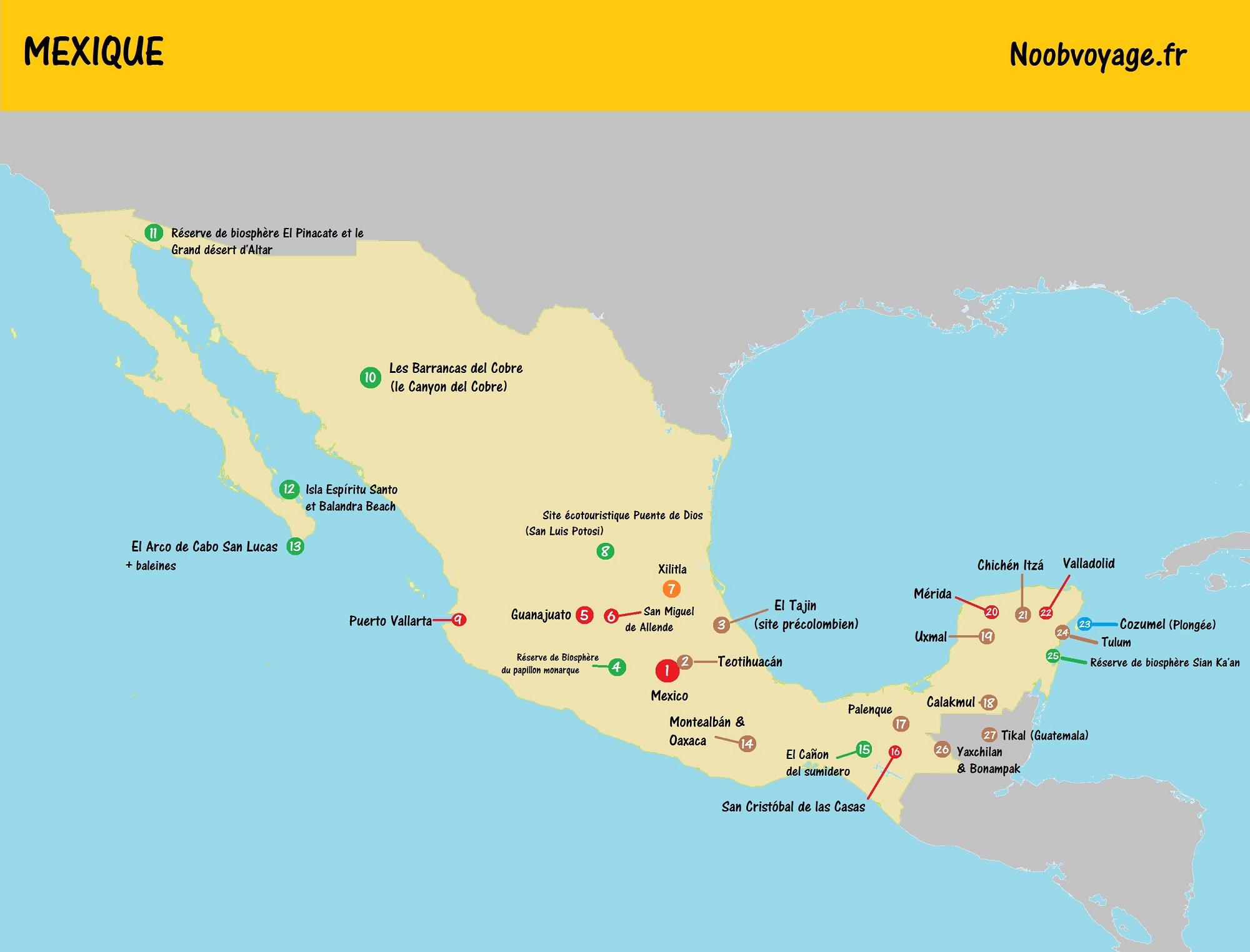 Carte Croatie Lieux Dinteret.Carte Touristique Du Mexique A Imprimer Noobvoyage Fr
